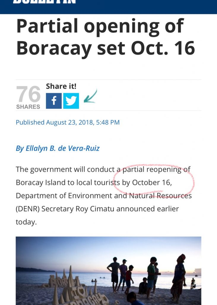 【ボラカイ島の再開は10月16日に変更?・・・】